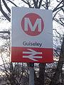 Station entrance sign, Guiseley railway station (30th December 2014).JPG