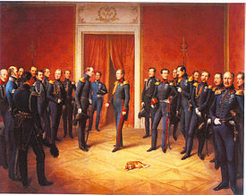 """""""Reporting to King William"""" (1847) by Stirnbrand. All the participants are identified on the painting's page at Wikimedia Commons. (Source: Wikimedia)"""