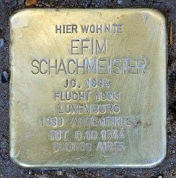 Photo of Efim Schachmeister brass plaque