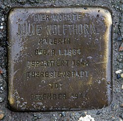 Photo of Julie Wolfthorn brass plaque