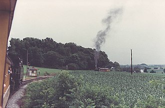 Strasburg Rail Road - Two trains meet near Groff's Grove