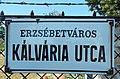 Street sign, Kálvária Street, Erzsébetváros, 2020 Pápa.jpg