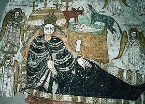 Sudanese Arabs - A fresco showing the birth of Jesus, in Faras cathedral.
