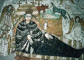 Christianity in Sudan - A fresco showing the birth of Jesus, in Faras cathedral