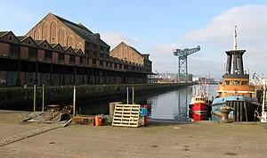 The Sugar Warehouse dominates the James Watt Dock