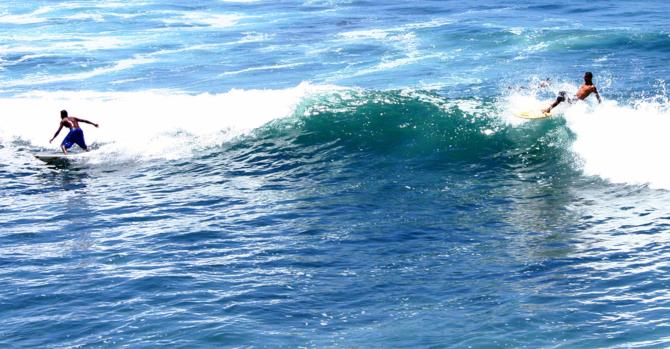 Surfing in La Libertad, El Salvador.