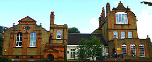 Sutton High School, London - The oldest buildings: Park House, white, surrounded by the 1886 extensions