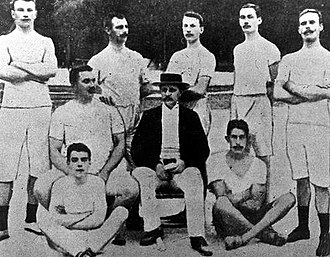 Sweden at the 1900 Summer Olympics - The Swedish athletes at the 1900 Summer Olympics in Paris. Standing from the left: Karl Gustaf Staaf, August Nilsson, Isaac Westergren, Tore Blom, Johan F Nyström. Sitting: Gustaf Söderström, F Berg (leader). On the ground: Ernst Fast and Eric Lemming.