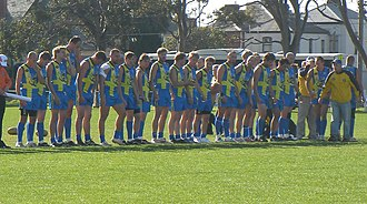 Australian rules football in Sweden - Sweden lining up for the national anthem at the 2008 International Cup in Melbourne