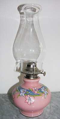 Swiss kerosene lamp.  The knob protruding to the right adjusts the wick, and hence the flame size.