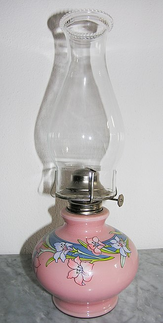 Kerosene lamp - Swiss flat-wick kerosene lamp. The knob protruding to the right adjusts the wick, and hence the flame size.