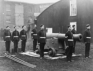 1st Wessex Artillery - 2nd Hampshire Artillery Volunteers at Drill, Penny Street, Southsea, c1895 (IWM Q41452)