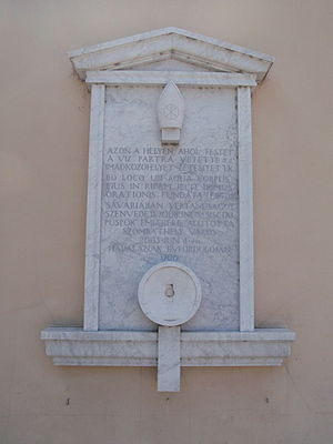 Szombathely - Óperint Street - Memorial plaque to Bishop St. Quirinus, remembering the anniversary of his death in 1700
