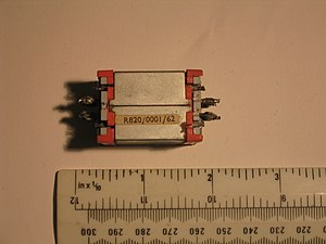 Reed switch -  A reed relay from a TXE-3 telephone exchange