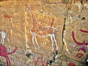 Rockart showing giraffes and other animals in what is now desert