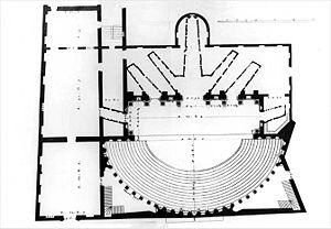 Teatro Olimpico - Floor plan (drawing by Ottavio Bertotti Scamozzi, 1776)