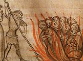 Templar knights being burned at the stake