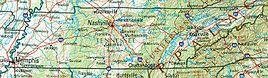Geographische Karte Tennessees