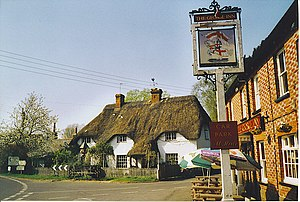 St Mary Bourne - Image: Thatched Cottage and The George Inn, St Mary Bourne. geograph.org.uk 193067