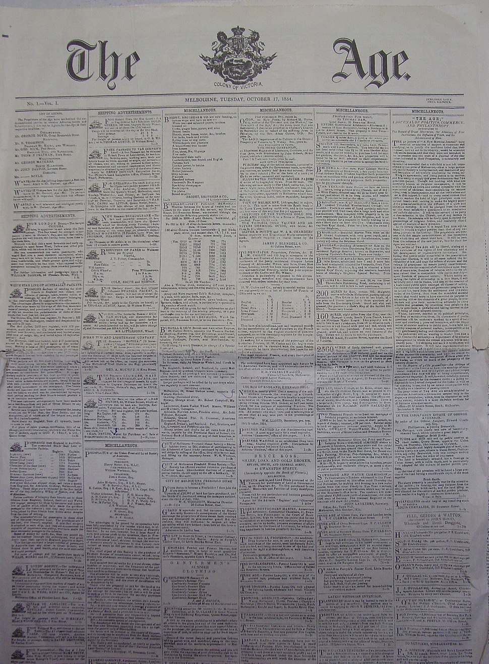 The Age first edition, Melbourne Museum
