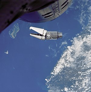 Agena target vehicle - The ATDA in orbit as seen from Gemini 9A.