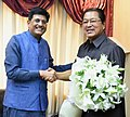 The Chief Minister of Mizoram, Shri Lal Thanhawla meeting the Minister of State for Power, Coal, New and Renewable Energy and Mines (Independent Charge), Shri Piyush Goyal, in New Delhi on May 08, 2017,.jpg