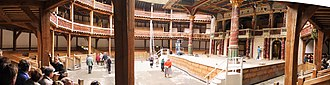 English Renaissance theatre - The Globe Theatre, Panorama Innenraum, London