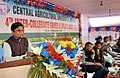 The Minister of State for Agriculture and Farmers Welfare, Shri Sudarshan Bhagat speaking at the closing ceremony of the 4th Inter-Collegiate games and Sports Meet 2017, in Lembuchera, Tripura on February 19, 2017.jpg