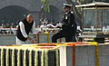 The Minister of State for Defence, Dr. M.M. Pallam Raju paying floral tributes at the Samadhi of Mahatma Gandhi on the occasion of Martyr's Day, at Rajghat, in Delhi on January 30, 2012.jpg