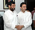 The Minister of State for Steel, Shri Jitin Prasada meeting with the Union Minister of Chemicals & Fertilizers and Steel, Shri Ram Vilas Paswan, in New Delhi on April 10, 2008.jpg