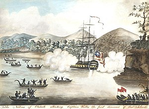 Samuel Wallis - Captain Wallis facing Tahitians hostility.
