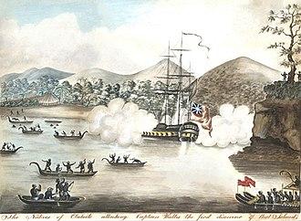 Samuel Wallis - Captain Wallis facing Tahitians hostility.
