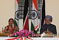 The Prime Minister, Dr. Manmohan Singh and the Prime Minister of the Republic of Trinidad and Tobago, Mrs. Kamla Persad-Bissessar, at the joint press conference, in New Delhi on January 06, 2012.jpg