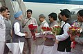 The Prime Minister, Dr. Manmohan Singh being received by the Governor of Maharashtra, Shri S.M. Krishna and the Chief Minister of Maharashtra, Shri Vilasrao Deshmukh, at the air port in Mumbai on October 05, 2006.jpg