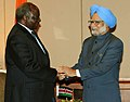 The Prime Minister, Dr. Manmohan Singh meeting the President of Kenya, Mr. Mwai Kibaki, on the sidelines of the 2nd Africa-India Forum Summit (AIFS), in Addis Ababa, Ethiopia on May 24, 2011.jpg
