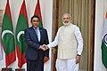 The Prime Minister, Shri Narendra Modi with the President of the Republic of Maldives, Mr. Abdulla Yameen Abdul Gayoom, in New Delhi on April 11, 2016.jpg