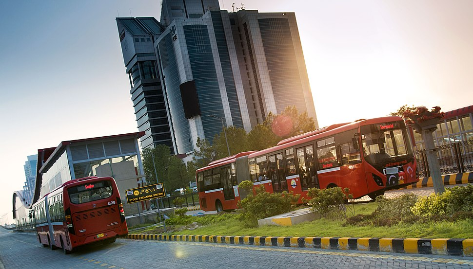 The Red Metro Bus in Blue Area
