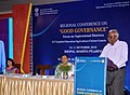 The Secretary, Department of Administrative Reforms & Public Grievances, Shri K.V. Eapen addressing the Valedictory Session of two days Regional Conference on 'Good Governance Focus on Aspirational Districts', at Bhopal.JPG