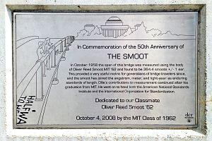 Smoot - Plaque on the Harvard Bridge in Boston, Massachusetts, describing the smoot