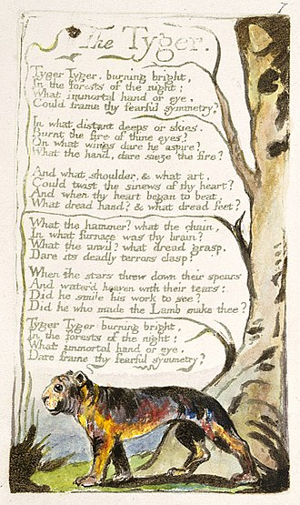 1794 in poetry - A William Blake original of The Tyger, printed c. 1795