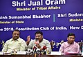 The Union Minister for Tribal Affairs, Shri Jual Oram addressing a press conference on the achievements of the Ministry of Tribal Affairs, during the last four years, in New Delhi.JPG