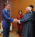 The Vice President, Shri M. Hamid Ansari in a bilateral meeting with the Prime Minister of Estonia, Mr. Taavi Roivas, on the sidelines of the 11th ASEM Summit, in Ulaanbaatar, Mongolia on July 16, 2016.jpg