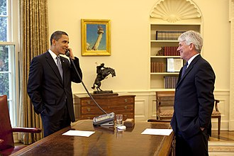 Gregory B. Craig - Craig in the Oval Office with President Barack Obama on May 1, 2009, as photographed by Pete Souza.