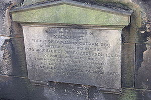Benjamin Outram - The grave of Margaret Outram, St Johns, Edinburgh