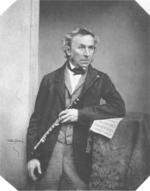 Theobald Boehm - Theobald Böhm, photograph by Franz Hanfstaengl, ca. 1852.