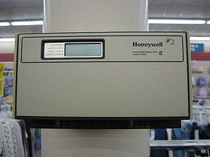 A Honeywell electronic Thermostat in a store