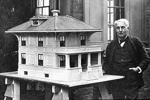 Edison Portland Cement Company - Edison with a model of a concrete house