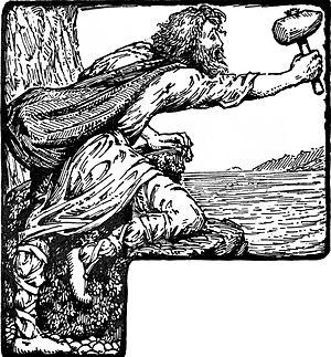 """Hárbarðsljóð - """"Thor threatens Greybeard"""" (1908) by W. G. Collingwood."""