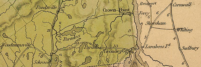 The Ticonderoga and Schroon Turnpike began north of Schroon and headed east through Paradox to the western edge of Lake Champlain at Ticonderoga. The turnpike connected to other long-distance roads at each end.