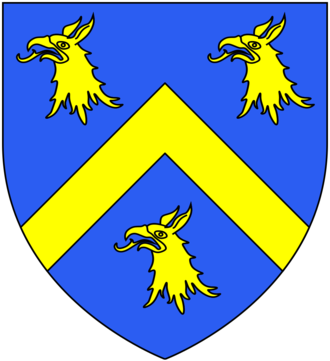 Elizabeth Tilney, Countess of Surrey - Arms of Tilney: Azure, a chevron between three griffin's heads erased or